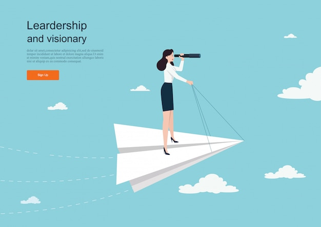 Character flying on paper plane. business concept of vision. background template