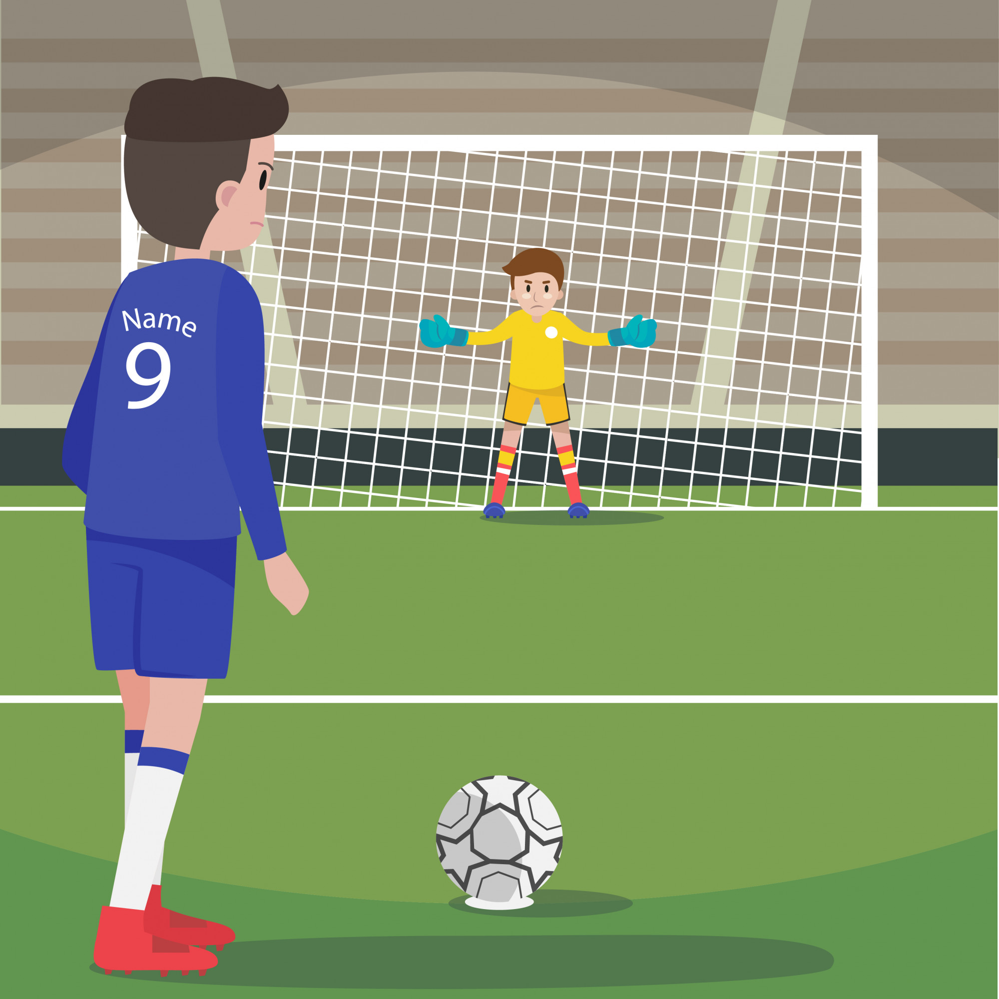 Character football player at penalty shoot position with goalkeeper