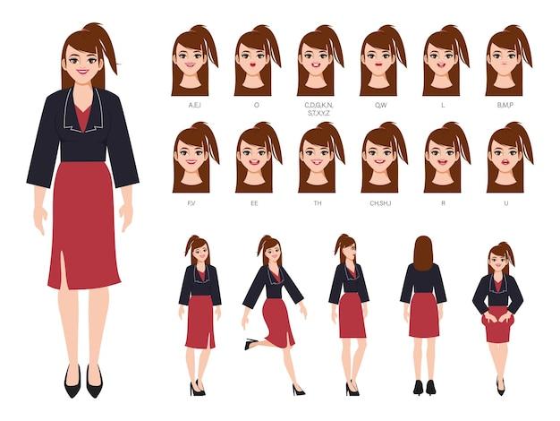 アニメーションの口と顔の美しい女性のキャラクター