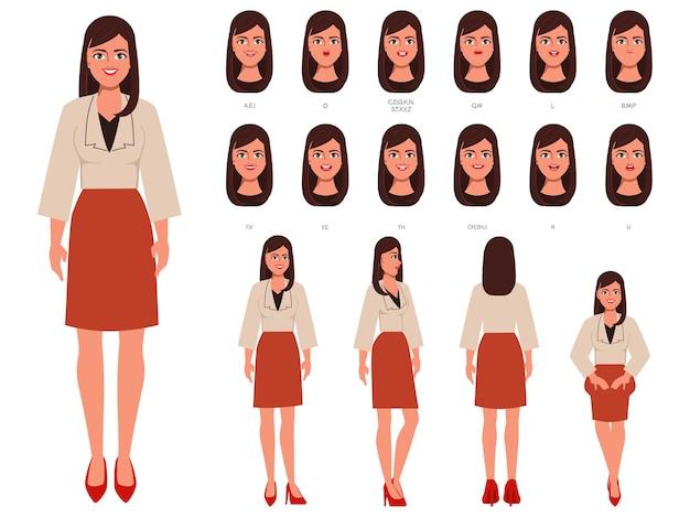 アニメーションのキャラクターの口と顔のかわいいビジネスウーマン
