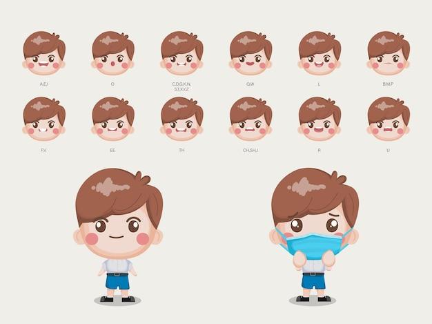 バンコクタイの制服のアニメーションの口と顔の学生のためのキャラクター