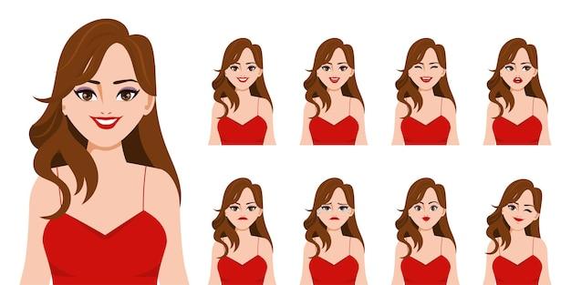 顔のセットを持つアニメーションのキャラクター