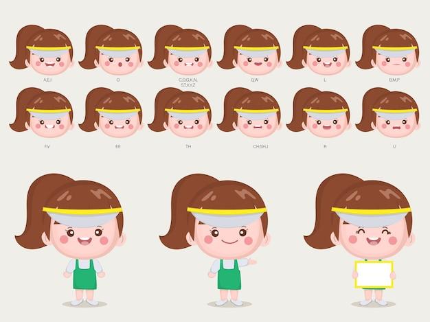 귀여운 여자 애니메이션 입과 얼굴을위한 캐릭터.