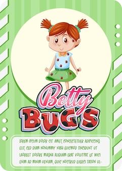 Bettybugsという単語を含むキャラクターゲームカードテンプレート