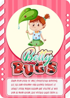 Character game card template with word betty bugs
