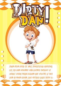 Dirty dan이라는 단어가 있는 캐릭터 게임 카드 템플릿