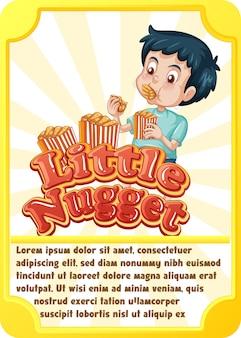 Modello di scheda di gioco del personaggio con la parola little nugget