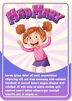 マッドメアリーという言葉のキャラクターゲームカードテンプレート