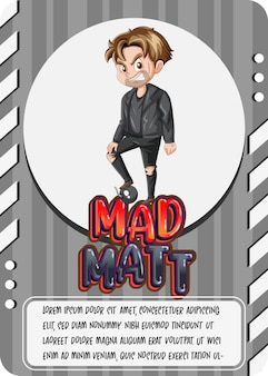 Character game card template with word mad matt