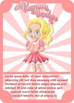 Modello di scheda di gioco del personaggio con la parola precious penelope