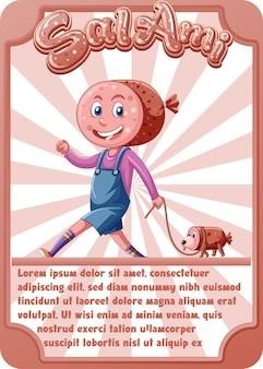 단어 살라미 소시지와 캐릭터 게임 카드 템플릿