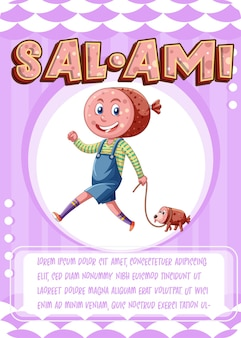 Character game card template with word salami