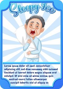 Sleepy joe라는 단어가 있는 캐릭터 게임 카드 템플릿