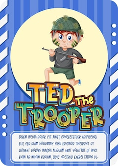 Character game card template with word ted the trooper