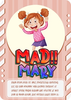 Character game card with word mad mary