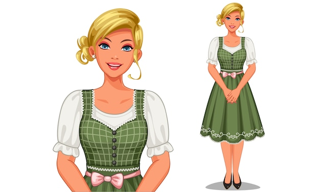 Character of german girl in traditional outfit