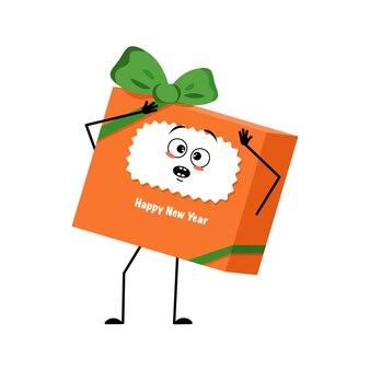 공황 상태에 빠진 감정이 있는 새해를 위한 캐릭터 선물 상자는 그의 머리를 움켜쥐고 크리스마스를 위한 축제 팩