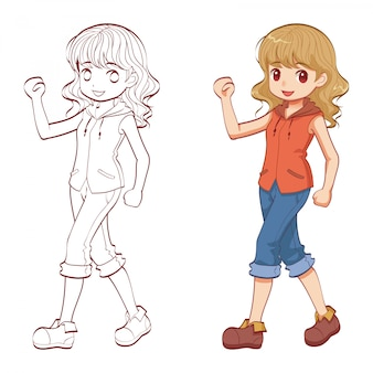 Character of girl walking and doodle
