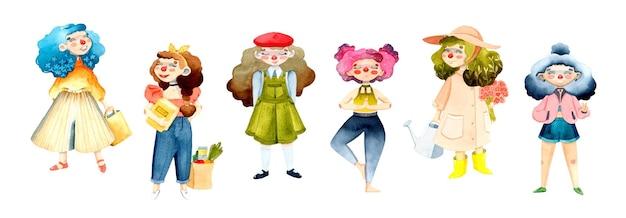 Персонаж девушки акварель набор изолированных элементов