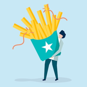 Character of a guy holding french fries illustration