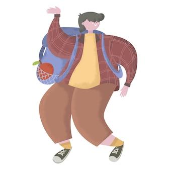 キャラクター幸せな男の子または学生幸せな若いティーンは笑顔でジャンプして踊っています
