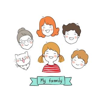 Персонаж счастливый семейный стиль Doodle
