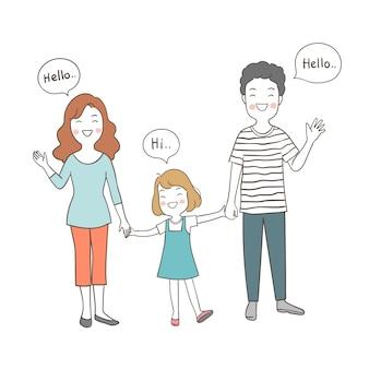Character happy family greeting say hi hello