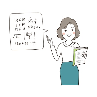 Character happy teacher holding book and teaching math