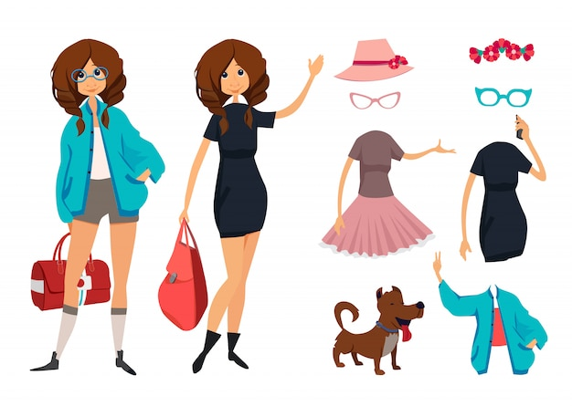 Character of hipster young girl with glasses. casual style clothes