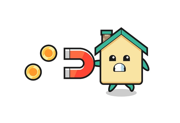 The character of house hold a magnet to catch the gold coins , cute design