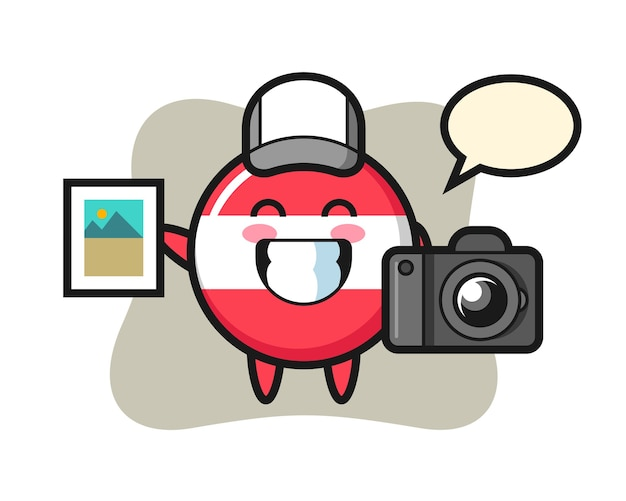 Character illustration of austria flag badge as a photographer