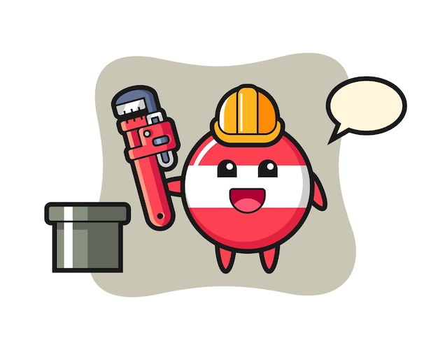Character illustration of austria flag badge as a plumber