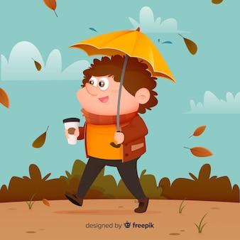 Характер иллюстрации осень в парке дизайна