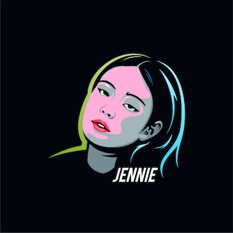 Character illustration black pink jennie