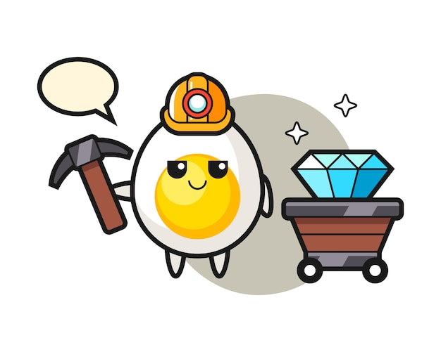 Character illustration of boiled egg as a miner