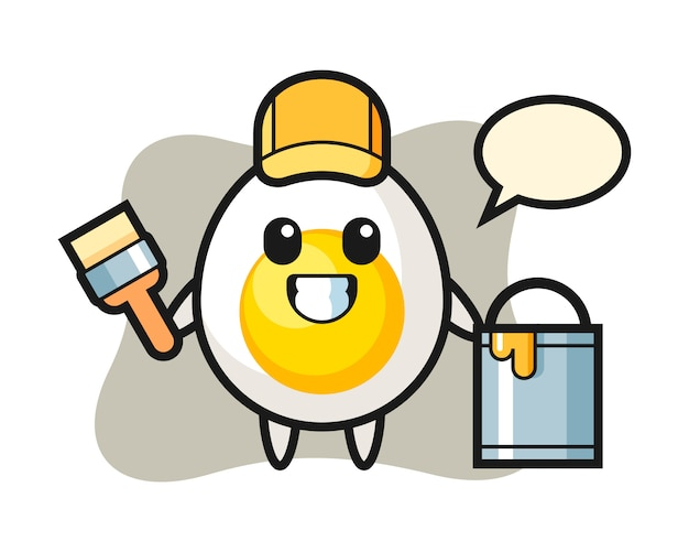 Character illustration of boiled egg as a painter