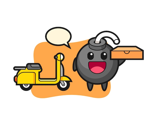 Character illustration of bomb as a pizza deliveryman