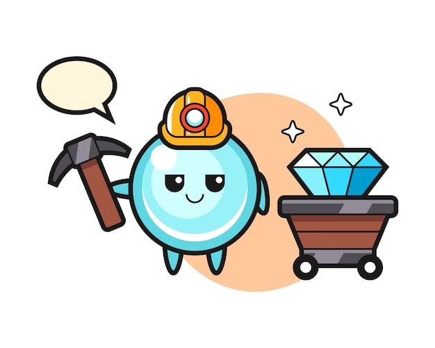 Character illustration of bubble as a miner, cute style design