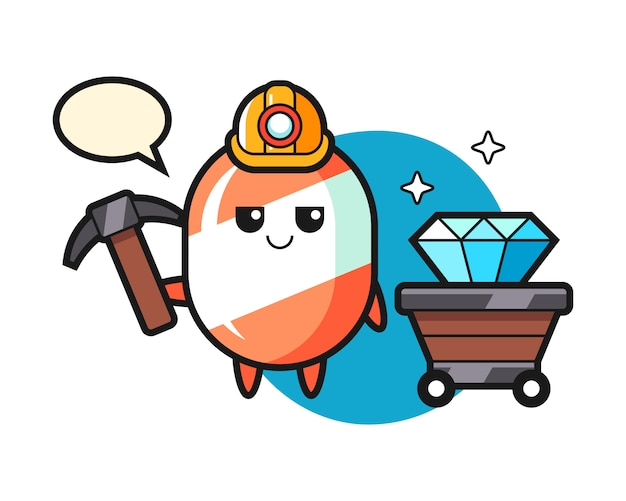 Character illustration of candy as a miner