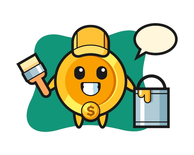 Character illustration of dollar coin as a painter