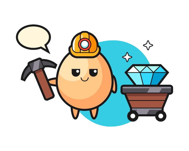 Character illustration of egg as a miner, cute style design for t shirt, sticker, logo element