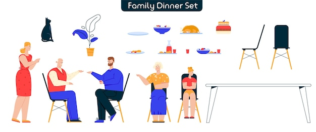 Character illustration of family dinner set. grandfather, grandmother, daughter, dad and mom. festive table, dishes, dessert, furniture. bundle elements of family holidays, home interior