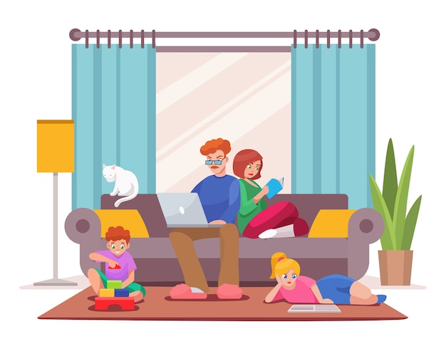 Character illustration of family stay at home. dad and mom sitting on couch, working on laptop, reading book. son plays with toy cubes. daughter reads, does homework. home interior living room