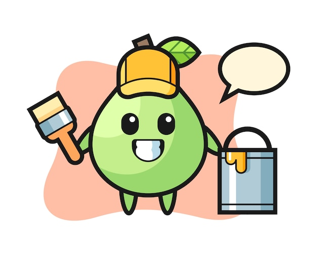 Character illustration of guava as a painter, cute style design for t shirt, sticker, logo element