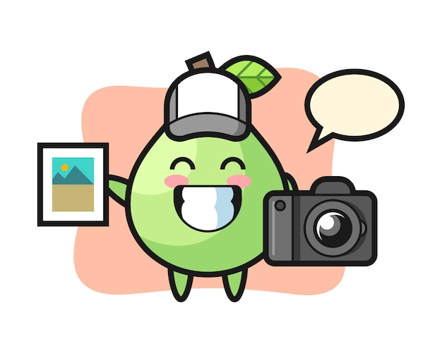 Character illustration of guava as a photographer, cute style design for t shirt, sticker, logo element