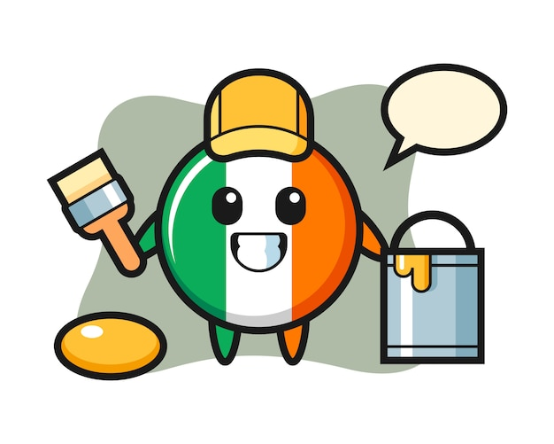 Character illustration of ireland flag badge as a painter