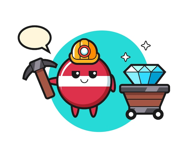 Character illustration of latvia flag badge as a miner , cute style design for t shirt, sticker, logo element