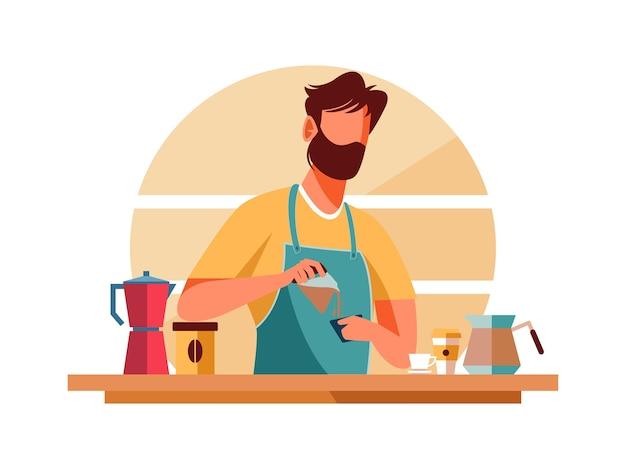Иллюстрация персонажей мужской бариста приготовления кофе, кафе-бар
