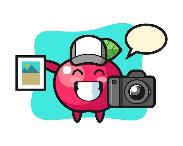 写真家としてのリンゴのキャラクターイラスト