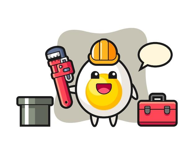 配管工としてのゆで卵のキャラクターイラスト